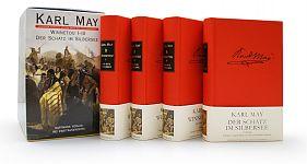 Winnetou 1 - Der rote Gentleman, Winnetou 2 - Der rote Gentleman, Winnetou 3 - Der rote Gentleman und Der Schatz im Silbersee. 4 Bände im Schuber von Karl May für 24,90€